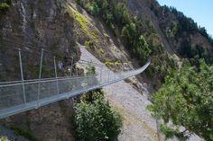 One of 4 hanging bridges along the Torrent Neuf, near Sion, Wallis, Switzerland. Licensing through www.kursiv.com