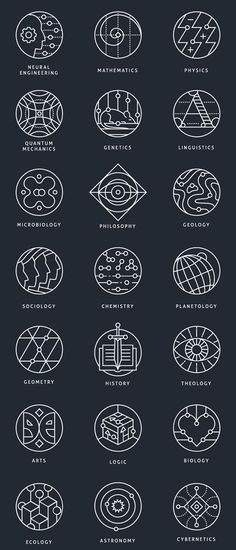 Collection of conceptual marks, representing different scientific areas.Available for purchase in outline and colored variations. Graphisme  http://tattooforideas.com/wp-content/uploads/2018/01/collection-of-conceptual-marks-representing-different-scientific-areas-availabl.jpg