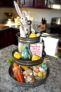 3-tier tray decorated for Easter