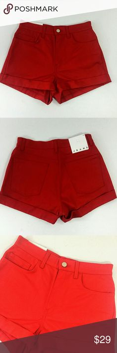 "NWT American Apparel Jean Shorts Red Size 27 New with tags, never used. Waist size 27. Color red. Classic 5-pocket design. 100% cotton. Machine wash.  Approx. laying flat measurements: 14"" waist, 11"" rise, 12"" long.  Remember to bundle up and save more, so check my closet for other treasure finds. American Apparel Shorts Jean Shorts"