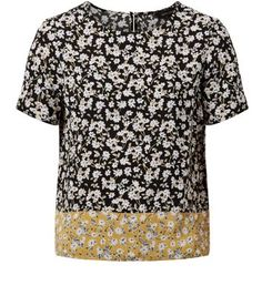 Navy Ditsy Floral Print Contrast Hem T-Shirt - New Look £14.99