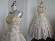 1950s Vintage Yellow Party Dress with Sequined Bust By Normans. $350.00, via Etsy.