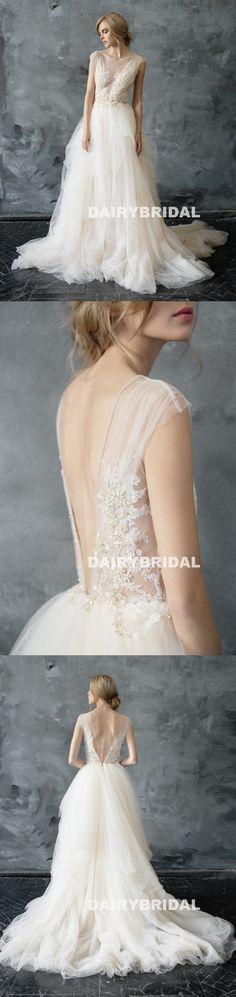 Sexy V-Back Tulle A-Line Wedding Dress, Vintage Applique Beaded Wedding Dress, D897 #wedding #weddingdresses #dairybridal