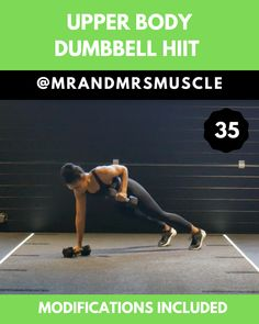 Upper Body Dumbbell HIIT Workout - Real Time - Diet, Exercise, Fitness, Finance You for Healthy articles ideas Upper Body Hiit Workouts, Full Body Hiit Workout, Gym Workout Videos, Gym Workouts, At Home Workouts, Upper Body Dumbbell Workout, Crossfit Exercises, Fitness Exercises, Sport Fitness