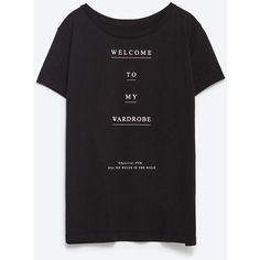 Zara Text T-Shirt ($9.90) ❤ liked on Polyvore featuring tops, t-shirts, black, black top, black tee, zara t shirts, black t shirt and zara top