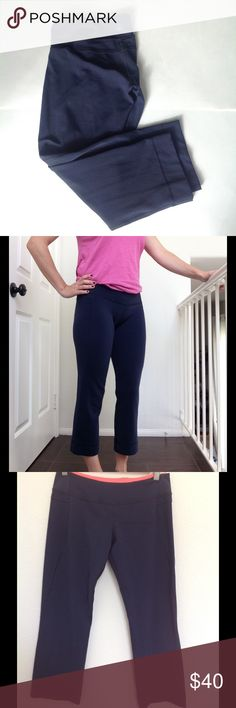 Lululemon Power Up Crop Pants Lululemon Power Up Crop Pants  Color: Navy Blue with interior hot pink/orange waistband.  Size: 8  Material: 77% Nylon, 18% Lycra, 5% X-static silver nylon.  Straight leg fit: fitted through waist and thigh, then loosens at knee and calf. Hits about mid calf, slightly lower on me. Hidden pocket on waistband for keys. Made with Lululemon's anti-stink and breathable silverescent fabric. Has 4- way stretch. Flat seams throughout.  Excellent used condition…