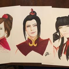 @brentsassmouth their incredible Fire Nation ladies- Mai, Azula and Tailee illustrations from Nickolodeans Avatar the Last Airbender. Done with the Chameleon Pens.