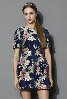 Retro Sweetness Floral Intarsia Dress - Keep your retro sweet style going by dressing up in this navy and golden hue piece, who features articstic garden intarsia all over and a pom pom skirt. Mix it up with lace leggings and a vintage headband to explore all the possibilities with the look.
