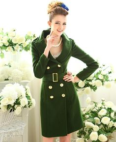 New Military Green Doulbe-breasted Long Woolen Coat
