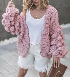 2019 New European American Style Pure Hand Knitting Ball Lantern Sleeve Sweater Fashion Women Sweater Clothing Casual Sweater - Hot Products Oversized Knit Cardigan, Cardigan Sweaters For Women, Crochet Cardigan, Sweater Coats, Casual Sweaters, Cardigans For Women, Women's Cardigans, Chunky Crochet, Hooded Cardigan