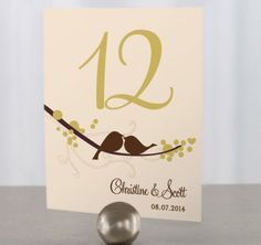Part of our Love Birds stationery collection, these personalized wedding table numbers are the perfect way to let guests know where to sit. Wedding Centerpieces, Wedding Favors, Wedding Reception, Wedding Ideas, Wedding Inspiration, Wedding Stuff, Reception Table, Wedding Venues, Wedding Planning