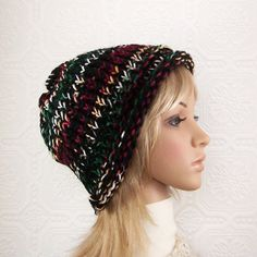 Hand knit hat  black multicolor  Winter ❤ by SandyCoastalDesigns, $30.00