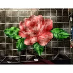 Rose flower perler beads by  corpsecollecter