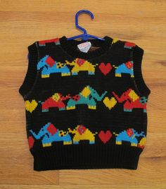 Cute Elephant and Heart KIDS Sweater Vest by Kokorokoko on Etsy, $12.00