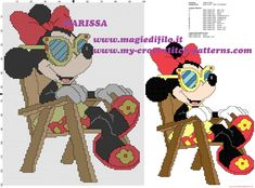 cross stitch pattern Minnie Mouse Disney on vacation on the deck chair