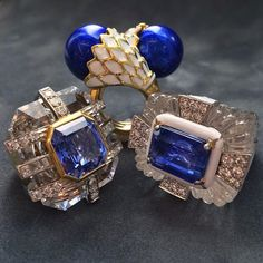 Tonight is the third night of Hanukkah, so we're getting festive with these three rings. If you'll notice, the ring on the far right is the white enamel and sapphire version of Marisa Berenson's ring, based on a design from 1969! #davidwebb #davidwebbjewels #happyhanukkah #blueandwhite #sapphire #rockcrystal #diamonds #enamel #gold #rings #jewelry #marisaberenson #color #nyc #newyork #hanukkah