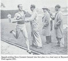 Oregon track athlete Doug Clement wins a race vs. Oregon State in a dual meet at Hayward Field 1955. From the 1956 Oregana (University of Oregon yearbook). www.CampusAttic.com