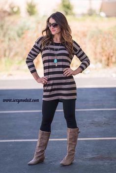 Another of my favorite comfy striped tunics! $28 www.sexymodest.com #modestshoppin #sexymodest