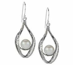 Or Paz Sterling Cultured Pearl Textured Earrings