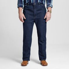 Dickies Men's Big & Tall Relaxed Straight Fit Denim Carpenter Jean- Indigo Blue Washed 40x36