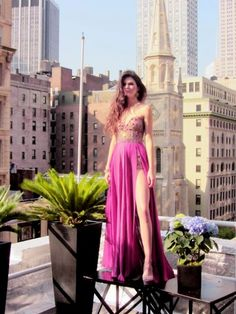 sexy slit violet prom dress