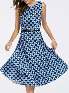 Retro Style Round Neck Sleeveless Polka Dot Print Women's Dress