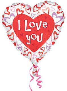 """""""I Love You"""" with Hearts 18in Heart Shaped Balloon - Party Depot"""