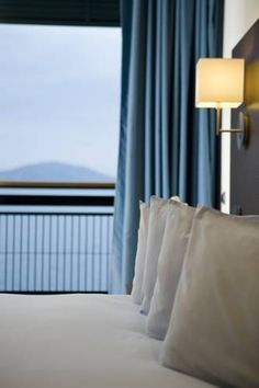 Enjoy a full view of the Pagasitikos gulf in our superior sea view rooms. Rooms, Curtains, Sea, Home Decor, Bedrooms, Blinds, Decoration Home, Room Decor, The Ocean