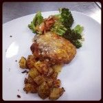 Fried Chicken, Roasted Potatoes with Panko, Sauteed Broccoli, Onions & Tomatoes. http://www.cookologyonline.com.