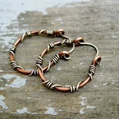 Sterling Silver wrapped copper hoops  copper by BearRunOriginals