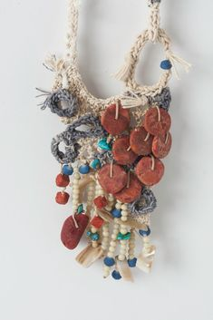 Free Form Crocheted Necklace Pendant with Coral by natartg