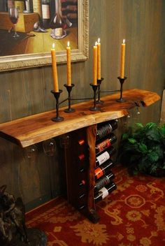 Incredibly designed console table with stemware sliders and slots for wine bottles