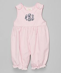 Look at this Monogrammables by Rosalina Pink & Navy Monogram Romper - Infant & Toddler on #zulily today!