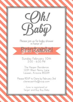 Oh Baby Modern Baby Shower Invitation