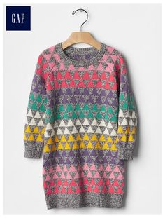 Geometric fair isle sweater dress