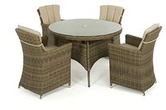 dorset rattan garden furniture 4 seater round dining set with carver chairs