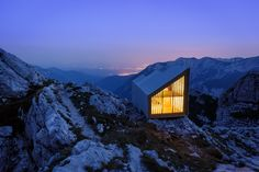 Reconstructed bivouac in the Kamnik Alps, Slovenia. More info and photos here. Contributed by Anze Cokl.