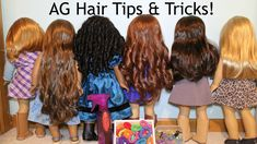 Doll Hair Care Tips & Tricks! Use soft pony tail holders on hair don't leave braids/ponytails in too long, spritz with water when brushing, use only a doll brush, do not apply heat to hair, shows examples of how to keep a curl.