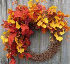 NEW FALL WREATH Berries and Fall Leaves Wreath by HornsHandmade