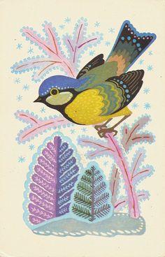 Soviet postcard with blue tit bird