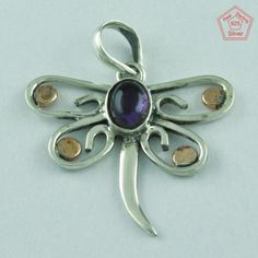 Butterfly Design 925 Sterling Silver Amethyst Pendant Jewelry P2607 #SilvexImagesIndiaPvtLtd #Pendant
