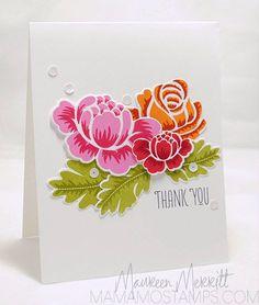 Stamps: Rosie Posie (PTI), Fresh Cut Florals (Wplus9) Ink: Hibiscus Burst, True Black (PTI) Melon Mambo, Real Red, Cherry Cobbler, Pumpkin P...
