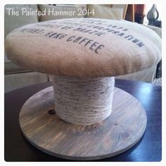 The Painted Hammer blog | upcycled electrical reel: ottoman!