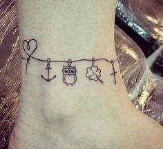 Likes, 420 Comments - Tatuagens Charm Anklet Tattoo, Anklet Tattoos, Knuckle Tattoos, Foot Tattoos, Body Art Tattoos, Tatoos, Ankle Braclet Tattoo, Wrist Tattoo, Meaningful Tattoos For Women