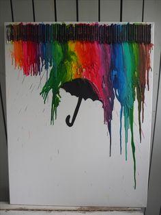 Vahaväreistä sulatettu taulu.  Painting from meltet crayons