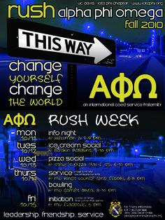 Alpha Phi Omega Fall Rush 2010. Change yourself, change the world. Iota Phi Chapter - UC Davis
