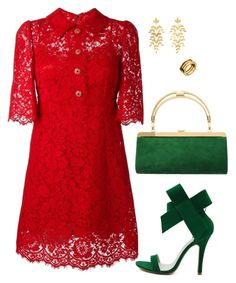 Red lace dress5 by doramoleiro on Polyvore featuring Dolce&Gabbana, WithChic, Balmain, Mallarino, Bulgari, dolceandgabbana and reddress Modest Outfits, Chic Outfits, Spring Outfits, Dress Outfits, Fashion Outfits, Dress Up Closet, Business Casual Attire, Power Dressing, Church Dresses