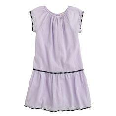 Girls' gauze pom-pom dress