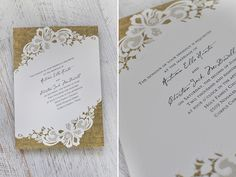 Burlap and lace wedding invitation from Invitations by Dawn via Green Wedding Shoes. Embossed, textured, beautiful! #rusticwedding #vintagewedding
