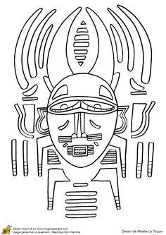 Masque Africain Sorcier, page 8 sur 12 sur HugoLescargot.com Applique Patterns, Embroidery Applique, Copper Art, Love My Job, Art Education, Coloring Pages, Stencils, Bullet Journal, Quilts